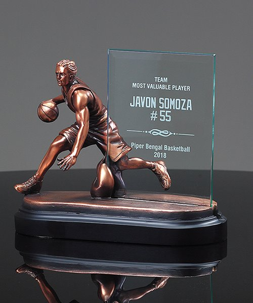 Picture of Action Basketball Glass Plaque