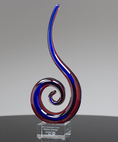 Picture of Spiral Dragon Tail Art Glass Award