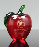Picture of Red Crystal Apple Paperweight