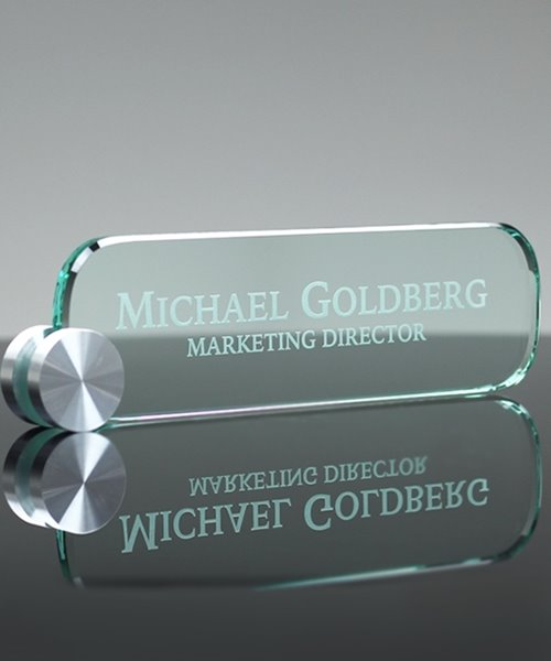 Picture of Elliptical Glass Name Plate
