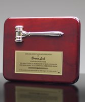 Picture of Radius Edge Rosewood Plaque with Gold Gavel
