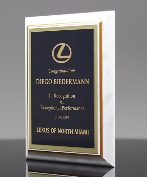 Picture of White Marble-Finish Plaque