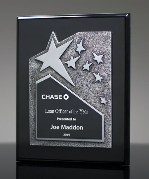 Picture of Black Plaque with Silver Star