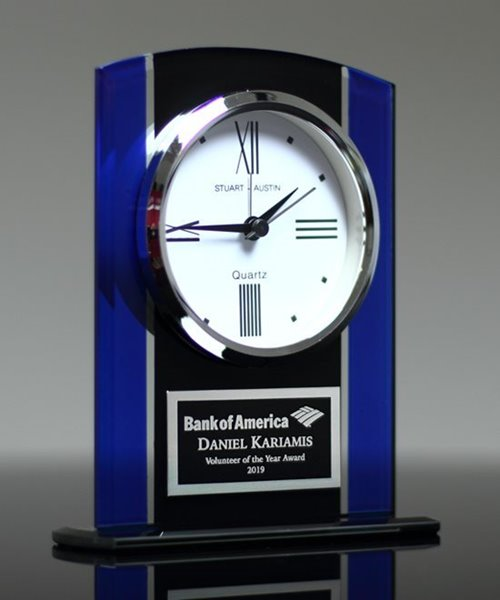 Picture of Black & Blue Glass Clock