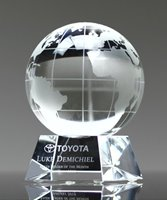 Picture of Crystal World Globe Pyramid Award