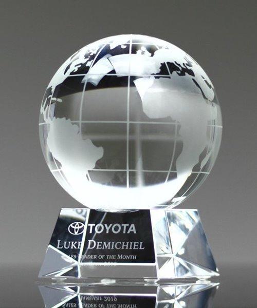 Picture of Crystal World Globe Pyramid Award