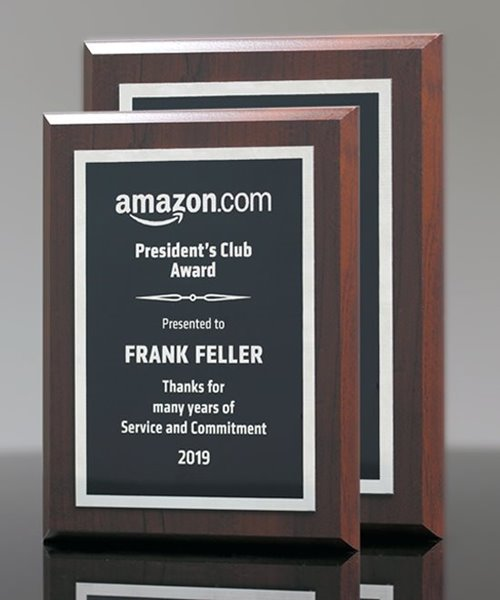 Picture of Walnut Finish Plaque with Silver Engraving