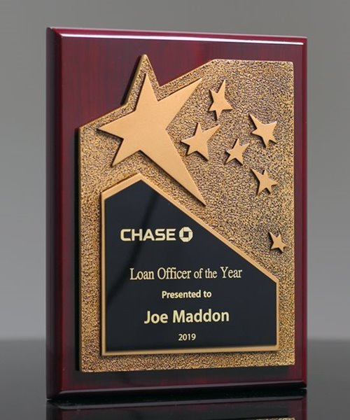 Picture of Rosewood Plaque with Gold Star
