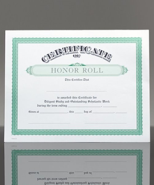 Picture of Certificate of Honor Roll