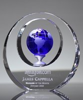 Picture of Blue Crystal Globe Circle Plaque