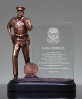 Picture of Policeman Glass Plaque