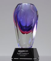 Picture of Amethyst Art Crystal Vase Award