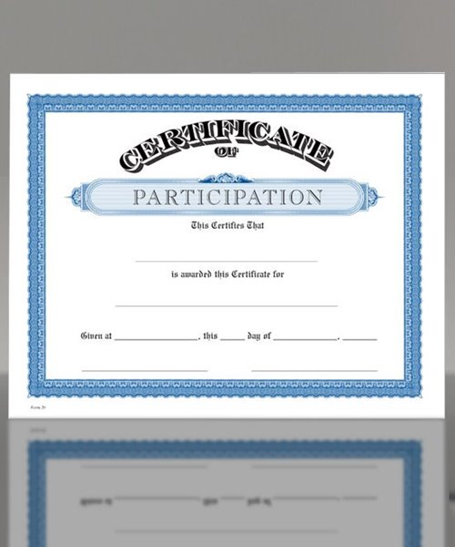 Picture of Parchtone Certificate of Participation