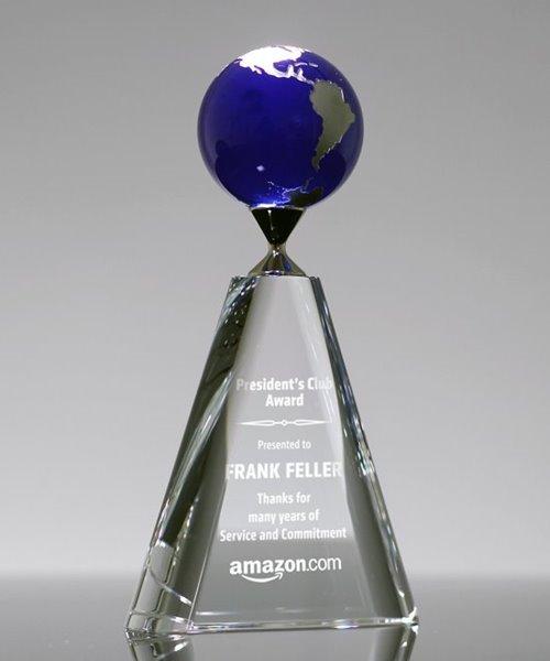 Picture of Mercer Blue Crystal Globe Award