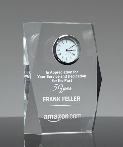 Picture of Faceted Acrylic Clock Award