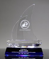 Picture of Faceted Sailboat Crystal Award