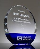 Picture of Luminous Blue Crystal Circle Award