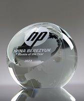 Picture of Globe Slant Crystal Award