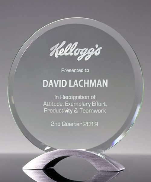 Picture of Round Glass Award on Silver Base