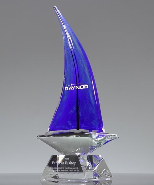 Picture of Blue Voyage Art Glass Boat Award