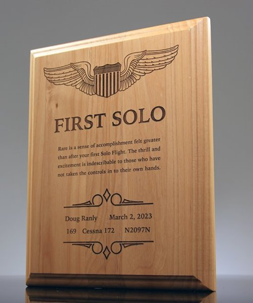 Picture of First Solo Flight Award Plaque