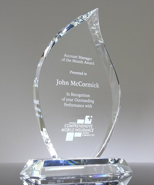 Picture of Beveled Flame Crystal Award