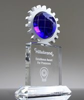 Picture of Silver Gear World Globe Crystal Plaque