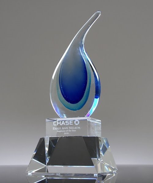 Picture of Oasis Blue Art Glass Droplet Award