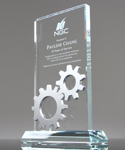 Picture of Silver Gears Glass Plaque