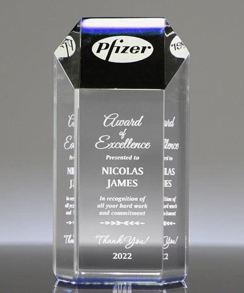 Picture of Ambient Blue Acrylic Hexagon Award