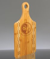 Picture of Custom Engraved Paddle Shaped Bamboo Cutting Board with Butcher Block Inlay