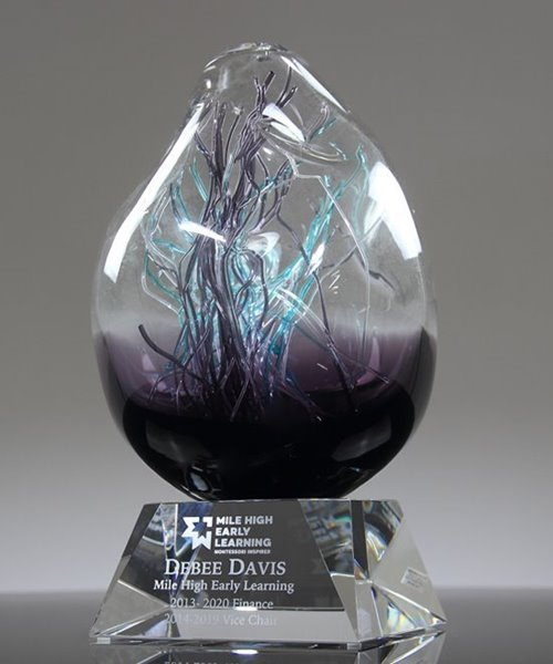 Picture of Purple Orb Art Glass Award