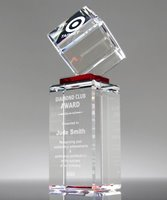 Picture of Elevate Red Crystal Cube Award Tower
