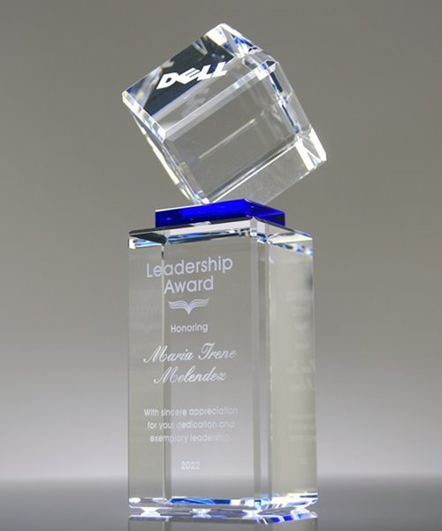 Picture of Elevate Blue Crystal Cube Award Tower