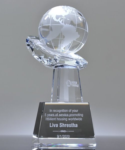 Picture of Globe In Hand Crystal Award