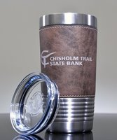 Picture of Personalized 20 oz. Stainless Leatherette Polar Camel Tumbler in Rustic Brown