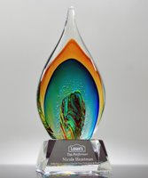 Picture of Top Performance Art Glass Flame Award