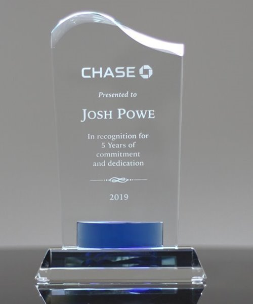 Picture of Wave Top Crystal Award with Blue Banner