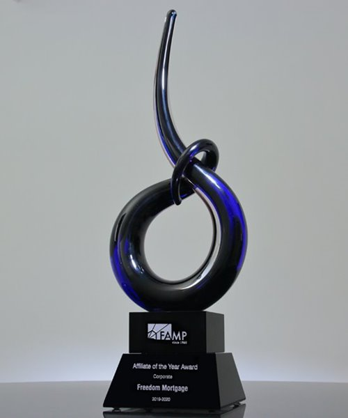 Picture of Sapphire Coil Art Glass Award