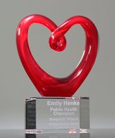 Picture of Art Glass Red Heart Award with Clear Base