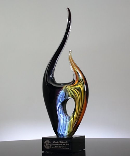 Picture of Contemporary Colorful Flame Art Glass Award
