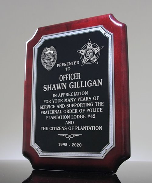 Picture of Police Officer Retirement Award Plaque