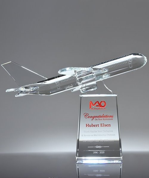 Picture of Airline Pilot Retirement Award Crystal Airplane Trophy