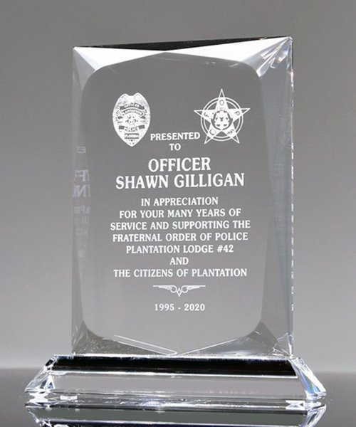 Picture of Police Officer Appreciation Crystal Plaque