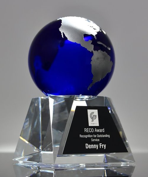 Picture of Blue Globe Crystal Trophy