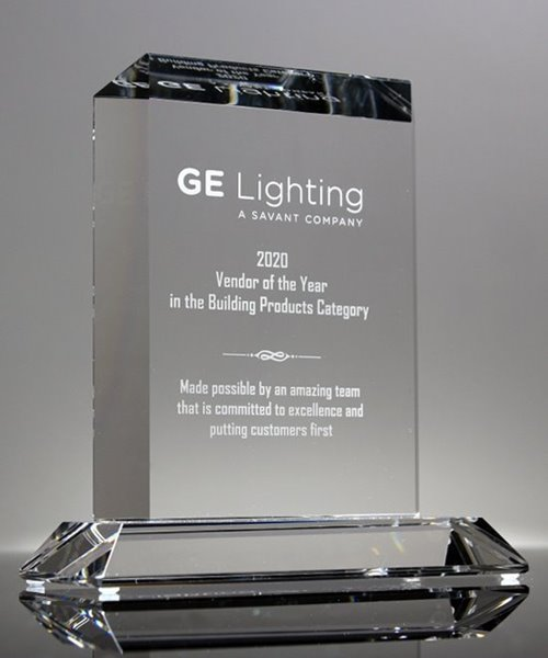 Picture of Vertical Rectangle Crystal Award Plaque