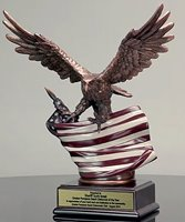 Picture of Eagle Award Statue With Rustic Flag