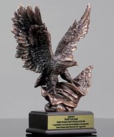 Picture of Bronze Eagle Trophy With American Flag