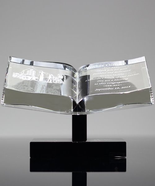 Picture of Open Book Crystal Award