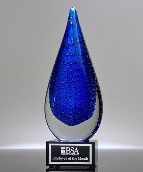 Picture of Blue Rain Drop Art Glass Award